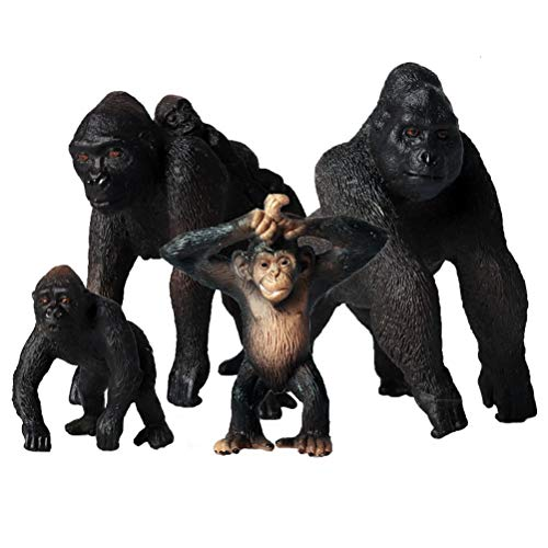 FLORMOON Animal Figures - 4pcs Realistic Chimpanzee Action Model - Plastic Wild Animal Learning Party Favors Toys - Educational Forest Farm Toys Birthday Cupcake Topper For Boys Girls Kids Toddlers