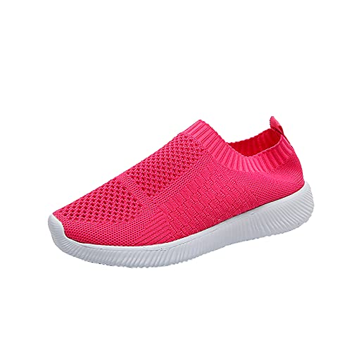 Women's Slip On Trainers Mesh Walking Shoes Canvas Flat Shoes Lightweight Running Shoes Damen Casual Sports Shoes Breathable Leisure Shoes Outdoor Gym Comfortable Trainers