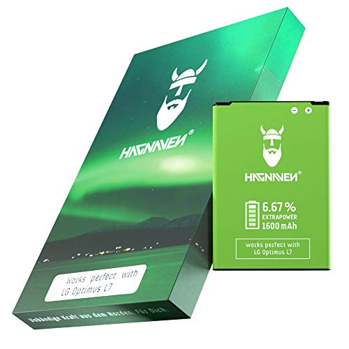 Hagnaven® Li-Ion Akku für LG Optimus L7 (P700) | HÖHERE KAPAZITÄT | LEISTUNGSSTARKER Ersatzakku mit 1600 mAh | Ersetzt BL-44JH | QUALITÄTSZELLEN & Beste AKKULAUFZEIT | Produktionsjahr 2019
