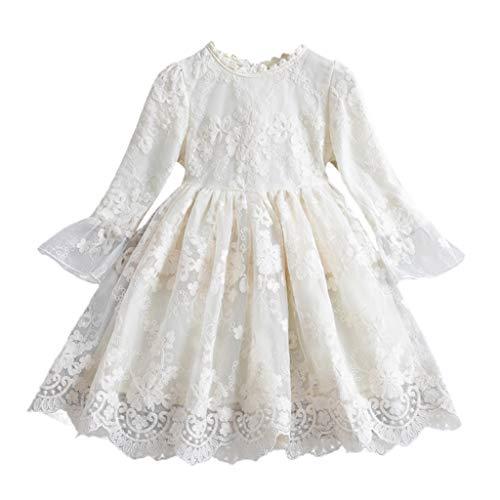 Heetey Kinder Mädchen Blumen Prinzessin Brautjungfer Festzug Kleid Geburtstag Party Brautkleid Langärmliges Prinzessin-Kleid aus Blumen-Mesh Taufkleid Kinder Hochzeits Festlich Kleider