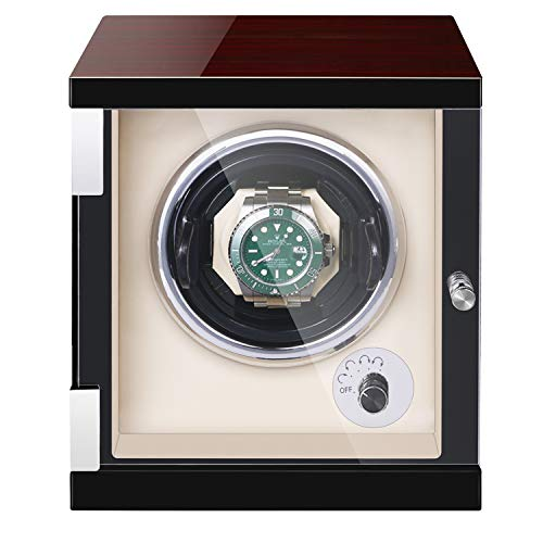 JQUEEN Single Watch Winder for Automatic Watches,Quite Japanese Motor with LED Illumination