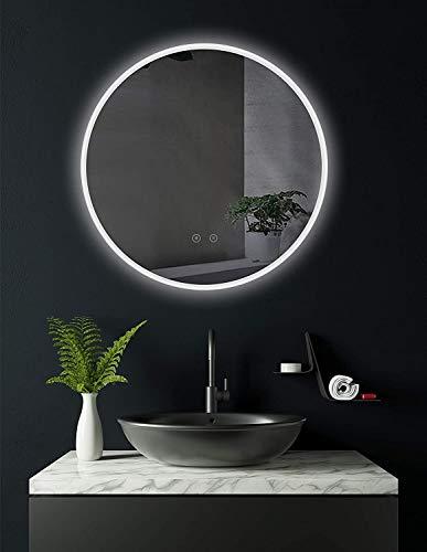 SOGOO® Miroir Rond Salle de Bains avec éclairage LED 60cm + Interrupteur Tactile + Lumière Blanc Froid 6500K (Rond 60cm anti-buée)