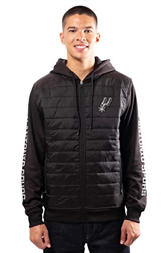 Ultra Game NBA San Antonio Spurs Mens Full Zip Soft Fleece Hoodie Jacket, Black, X-Large