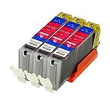 3 Logic-Seek Druckerpatronen kompatibel für Canon CLI-551M XL IP-7250 8750 IX-6850 MG-5450 5550 6350 6450 7150 MX-725 925, Magenta