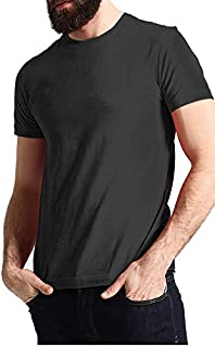 Santhome Black Crew Neck T-Shirt For Men