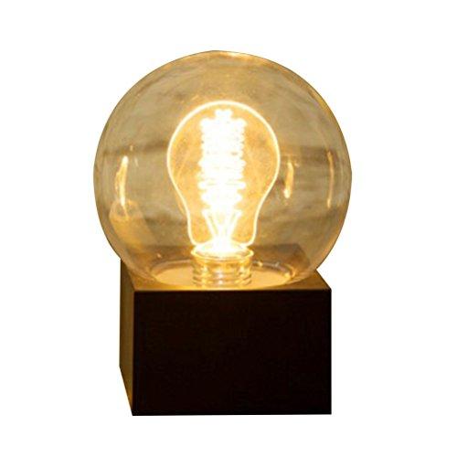 Uonlytech - Lámpara LED de noche (USB, recargable, funciona con pilas), diseño vintage, color negro