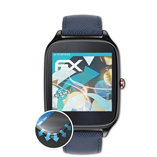 atFoliX Schutzfolie kompatibel mit Asus ZenWatch 2 41 mm Folie, ultraklare & Flexible FX Bildschirmschutzfolie (3X)