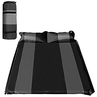 """WILD FUN 2 Person Double Self-Inflating Sleeping Pad with Pillow,Lightweight,75"""" x 52"""" Sleep Mat, Moisture-Proof Camping Pad, Perfect for Hiking & Backpacking (Black with Grey)"""