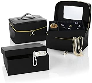 Joy Mangano Luxurious Jewelry Kit Trio Plus Large Jewelry Box (Jet Black)