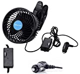 QIFUN 12V Electric Car Clip Fan, 6 Inches Cooling Air Fan, 360° Rotatable Stepless Speed Regulation Fan with Cigarette Lighter Plug for Vehicles, SUV, RV, Boat (Car Fan)