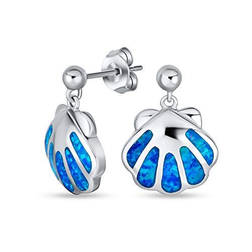 Creado Azul Opal Playa Tropical Náuticas Mar Almeja Stud Pendiente Concha Para La Mujer La Vida Marina 925
