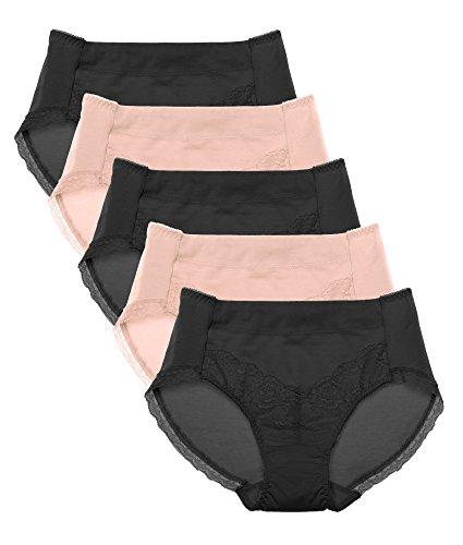 Intimate Portal Damen Komfort Modale Baumwolle Wäsche mit Spitze Frauenslips Damenslip 5er Pack Schwarz Beige XL/Etikett 3L