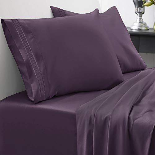 1800 Thread Count Sheet Set – Soft Egyptian Quality Brushed Microfiber Hypoallergenic Sheets – Luxury Bedding Set with Flat Sheet, Fitted Sheet, 2 Pillow Cases, Queen, Purple