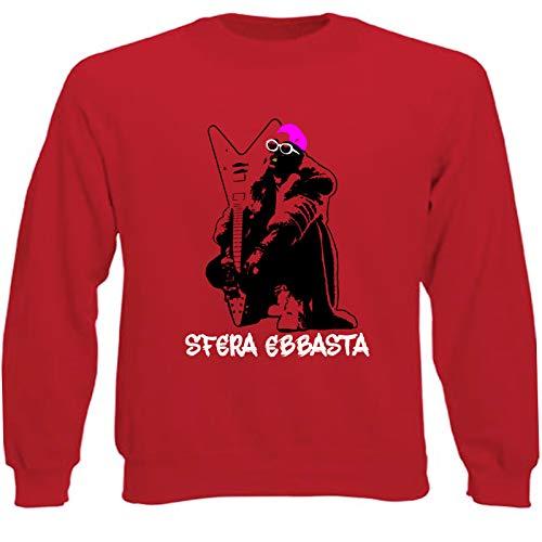 Art T-shirt, Sudadera Raglan Sfera Ebbasta para Hombre Rojo L