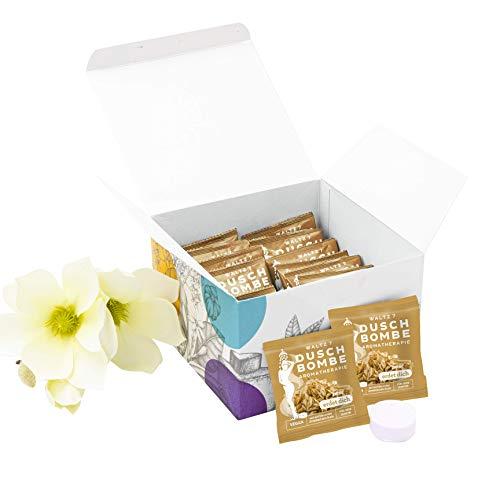 WALTZ7 aromatische Duschbombe Duft Zirbe 16 Stück Duschbad Aromatherapie Wellness Geschenk für Damen und Herren Duschtab Ätherische Öle