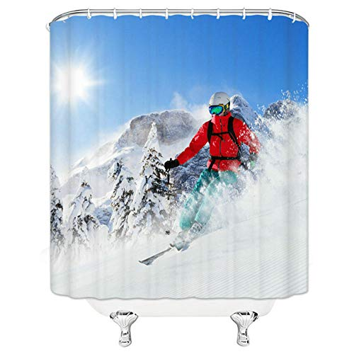 Brandless Lustige Schneemann DuschvorhäNge NatüRliche Landschaft Ski Sport Cartoons Badezimmer Home Decor wasserdichte Polyester Stoff Vorhang Set-B90xH180cm