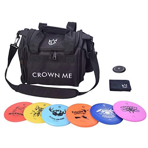 CROWN ME Disc Golf Starter Set,Disc Golf Set with 6 Discs, 1 Marker,1 Towel and Starter Disc Golf Bag Fairway Driver