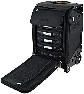 ZUCA Flyer TSA-Compatible Wheeled Carry-On Bag with Built-in Seat (Travel or Artist), Includes Packing Pouch Set and Suitcase Travel Cover
