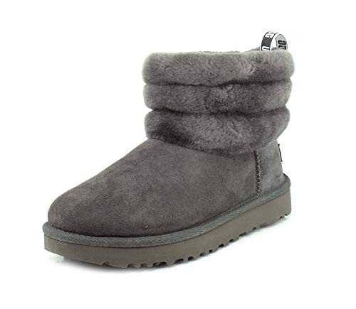 UGG Womens Classic Mini Fluff Quilted Charcoal Boot - 6
