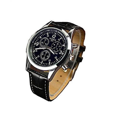 fregthf Hombres Reloj De Cuarzo Analógico Reloj con Cuero Brazalete Simple Cristal Azules Reloj De Pulsera Tres Ojos Casual Reloj -Negro