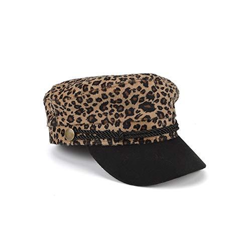 mlpnko Sombrero de Pintor Leopardo Gorra de Moda Sombrero británico de Estilo Femenino pequeño Leopardo Amarillo Ajustable
