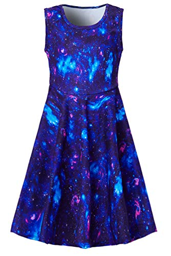 BFUSTYLE Space Blue Pink Nebula Dress for Preteen Girls Galaxy Cartoon Printed Autumn Outside Play Dresses Chic Colourful Street Casucal Frocks Clothes 10-13 Years Old