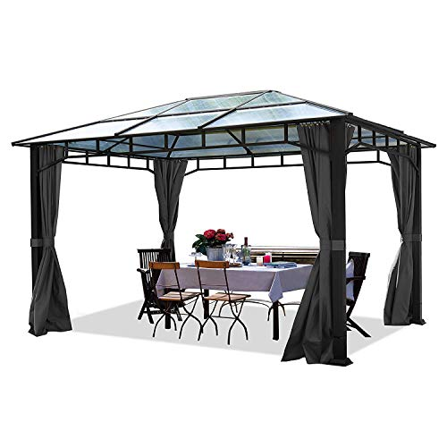 TOOLPORT ALU DELUXE Garden Gazebo 3x4m waterproof approx. 8mm polycarbonate roof pavilion 4 side walls/panels Party Tent grey 9x9cm profile