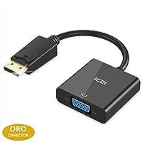 ICZI Adaptador DP a VGA 1080p, Conversor DisplayPort a VGA con Contactos Chapados en Oro, Cable DP Macho a VGA Hembra para Pantallas Monitores HDTV Proyectores, etc, Negro