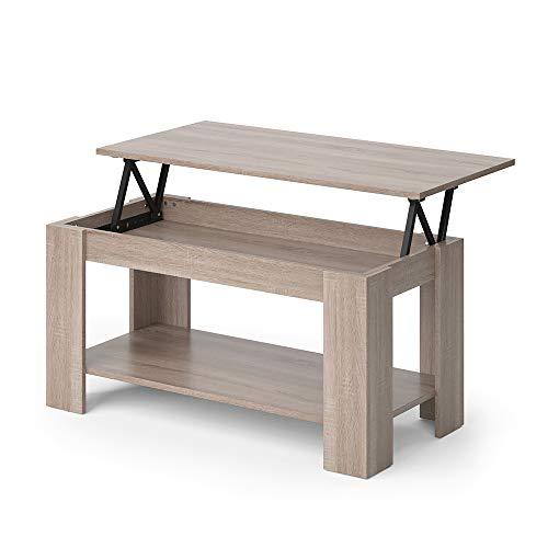 Vicco Couchtisch Lorenz höhenverstellbar Sofatisch Kaffetisch Wohnzimmer Tisch (Sonoma Eiche)