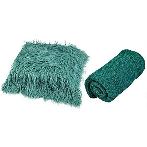 DSFSAEG Manta de fotos con envolturas largas onduladas, accesorios para fotografía recién nacida, suave alfombra de imitación para niños y niñas (verde)