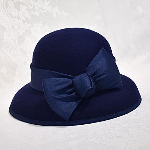 AAKKY Autumn Winter Elegant for Lady Autumn and Winter Caps Women Vintage Felt Fedora Hat (Color : Navy, Size : 56-58cm)