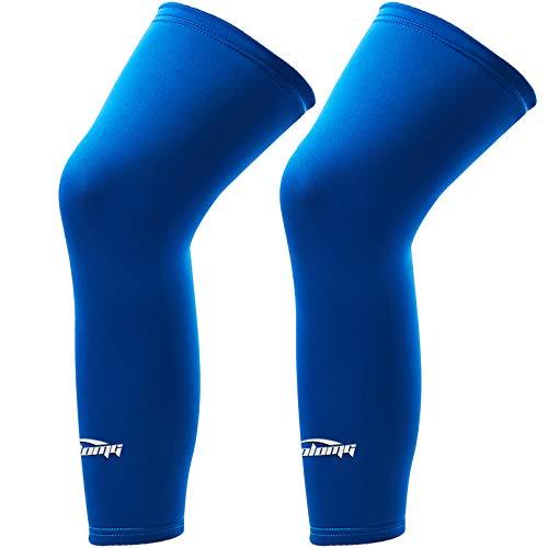 COOLOMG 2 Packs (1 Pair) Leg Knee Long Sleeves for Sport Football Basketball Cycling Strech Adult Child Size Dark Blue S