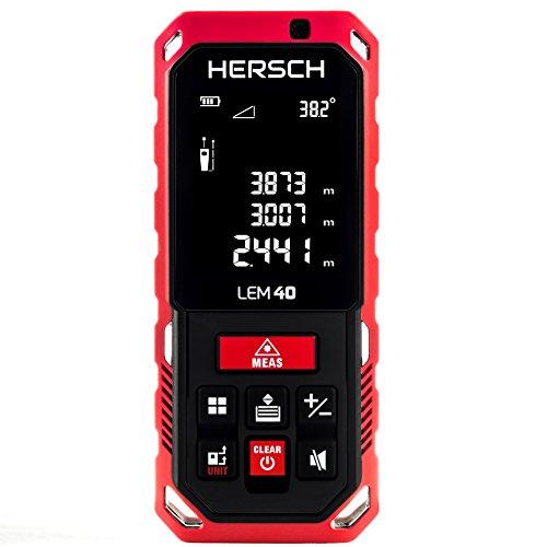 HERSCH LEM 40 Distanziometro Laser (Campo di Misura 0,05-40 m, Display LCD da 2 pollici con retroilluminazione, sensore di inclinazione, Precisione ±2,0 mm, Ni-MH 800 mAh batterie, IP65)