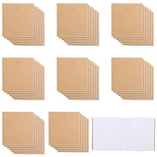 Belle Vous Notizbuch (48er Pack) Blanko Unliniertes Braunes Kraftpapier Notizheft Set - Journal Buch - 10,5 x 10,7 cm - 24 Papierseiten - Notizbuch Blanko zum Reisen & Büro