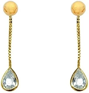 Bevilles 9ct Yellow Gold Silver Infused Long Drop Pear Cubic Zirconia Earrings. Drop|Stud