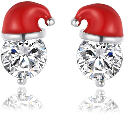 Flashing Christmas Earrings, Fashionable Santa Christmas Hat Rhinestone Design Studs Novelty Jewellery Gift for Women Girls