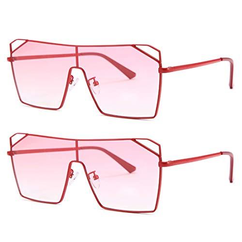 HFSKJ Paquete de 2 Gafas de Sol, Gafas de Sol cuadradas de una Pieza para Mujer Gafas de Sol INS Street Fashion Sun Glass,A