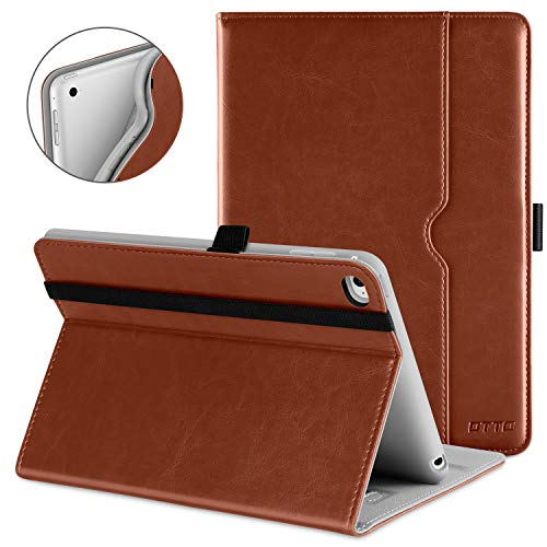 DTTO iPad Mini 4 Case, Premium Leather Folio Stand Cover Case with Multi-Angle Viewing and Auto Wake-Sleep Function, Front Pocket for Apple iPad Mini 4 - Brown