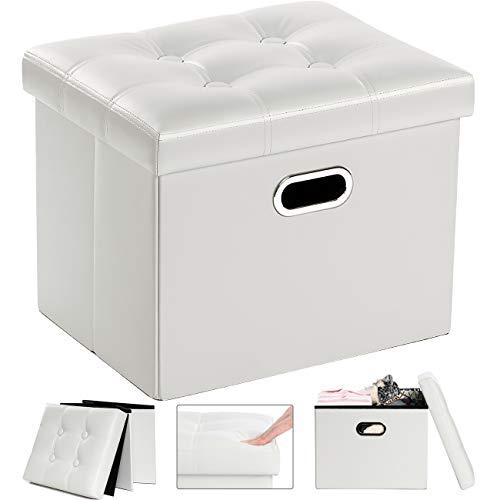 COSYLAND Sitzhocker mit Stauraum Faltbare Sitzbank Aufbewahrungsbox Leder Fusshocker Sitzwürfel mit Deckel Ottomane Fußhocker 43 x 33 x 33cm (Weiß)