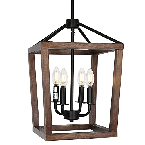4-Light Rustic Chandelier, Adjustable Height Lantern Pendant Light with Oak Wood and Iron Finish, Farmhouse Lighting Fixtures for Dining Room, Kitchen, Hallway and Entryway, 18' H x 12' W, ETL Listed