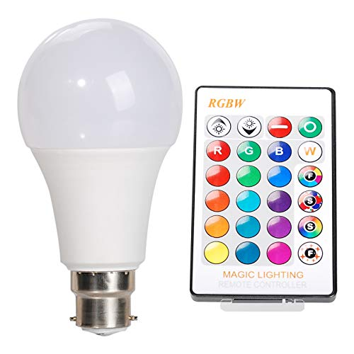 OeyeO Bombillas LED de colores, B22 LED RGBW, cambio de 16 colores, bombilla A65 con 24 llaves, mando a distancia para casa, fiestas