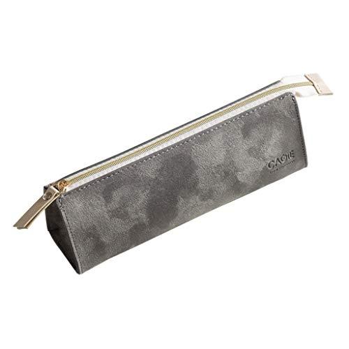 VREF Grande Trousse Vintage Suede Zip Portable Carry Case Crayon délicat Sac Papeterie Multifonctions de Grande capacité Sac de Finition Trousse Sac de Rangement pour Crayons (Color : Gris)