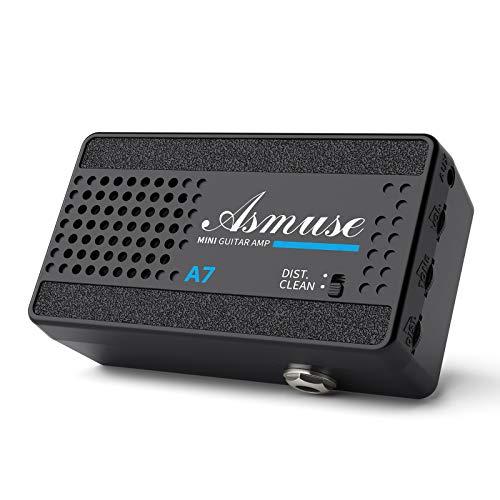 Asmuse Mini Amplificador de Guitarra Eléctrica Altavoz Portátil de 3W para Bajo, Amp Combo de 2 Canales Limpio y Distorsión con pilas de 9v, toma de auriculares