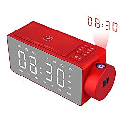 Htterino Projection Alarm Clock Bluetooth Speaker with Wireless Charging DIY Ringtone,One-Click Snooze,Bluetooth Call Speaker,FM Radio AUX, TF Card Input (Color:Red)