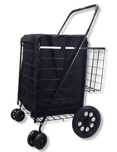 Folding Shopping Cart Swivel Wheel Extra Basket Jumbo Black with Liner by SCF