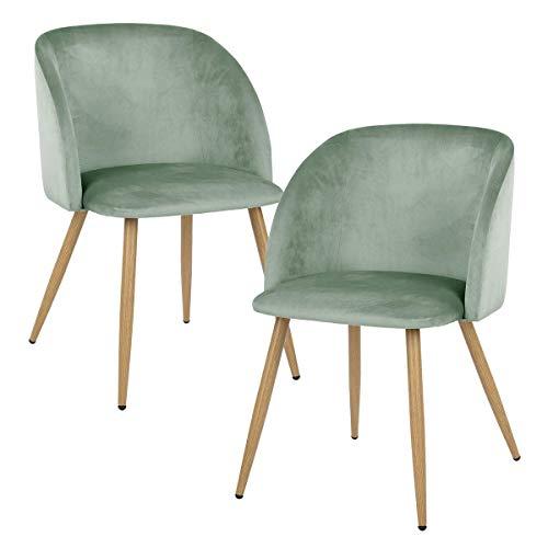 EGGREE 2er Set Esszimmerstühle Vintager Retro Sessel Polstersessel Samt Lounge Sessel Clubsessel Fernsehsessel (Grün)