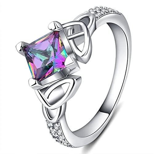 DJMJHG Anillo de Plata 925 para Mujer con 6 × 6 Mm Cuadrado Rainbow Fire Mystic Topaz Gemstone Silver Jewelry Gift 6 Fire Mystic Topaz