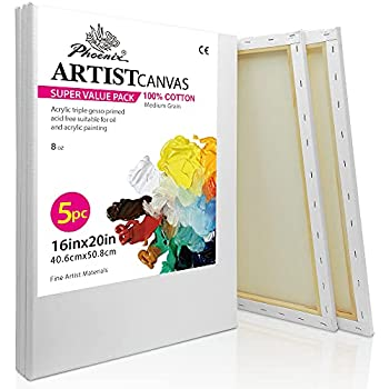 PHOENIX White Blank Cotton Stretched Canvas Artist Painting - 16x20 Inch / 5 Pack - 5/8 Inch Profile Triple Primed for Oil & Acrylic Paints