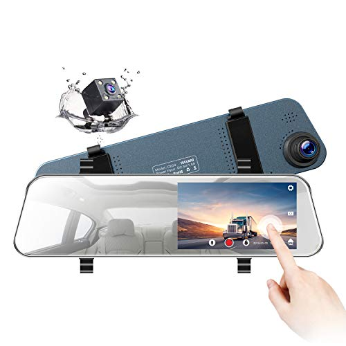 TOGUARD Backup Camera 5' LCD Mirror Dash Cam Rear View Mirror Camera Ultra-Thin Touch Screen Full HD 1080P Dash Cam Front and Rear Dual Lens with Waterproof Rear Camera