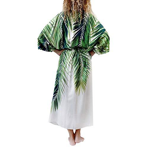 hxl Womens Strand Vertuschen Kleider-Seaside Urlaub Palmblatt Druck Strickjacke Roben Bikini Schwimmen Außerhalb Sonnenschutz Rock Bohemian Kimono Cardigan Beachwear